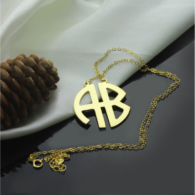 18ct Gold Plated 2 Letters Capital Monogram Necklace - The Name Jewellery™