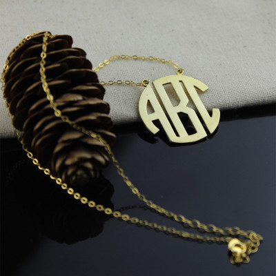 18ct Gold Plated Block Monogram Pendant Necklace - The Name Jewellery™