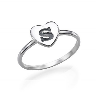 Heart Initial Ring in Sterling Silver - The Name Jewellery™