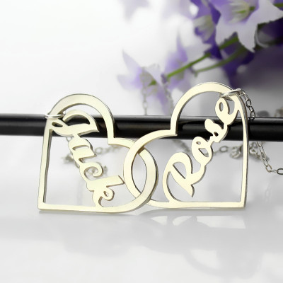 Double Heart Love Necklace With Names Sterling Silver - The Name Jewellery™