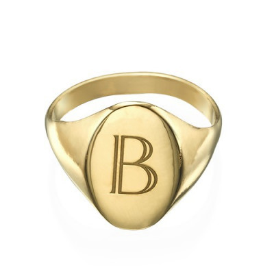 Initial Signet Ring - 18ct Gold Plated - The Name Jewellery™