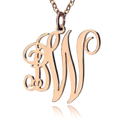 01ec81b819912 Personalised Vine Font 2 Initial Monogram Necklace 18ct Rose Gold Plated -  The Name Jewellery™