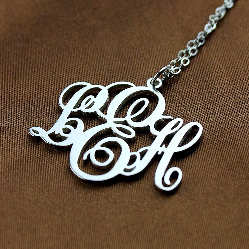 4e9f69be28bec Personalised Vine Font Initial Monogram Necklace Sterling Silver