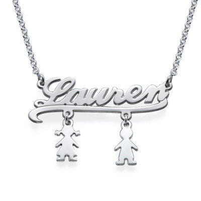 Mummy Name Necklace with Kids Charms - The Name Jewellery™