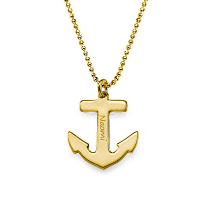 18ct Gold Plated Sterling Silver Anchor Necklace - The Name Jewellery™