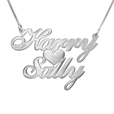 Silver Two Names  Heart Love Necklace - The Name Jewellery™