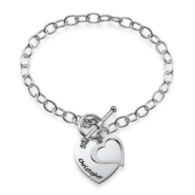 Sterling Silver Double Heart Charm Bracelet/Anklet - The Name Jewellery™