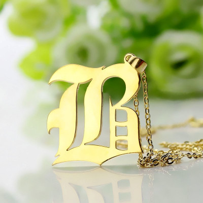 Solid 18ct Gold Plated Old English Style Single Initial Name Necklace - The Name Jewellery™