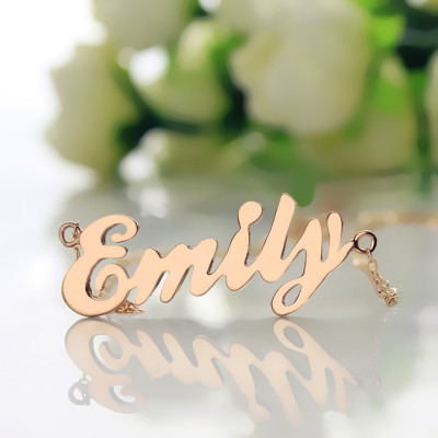 Cursive Script Name Necklace 18ct Solid Rose Gold - The Name Jewellery™
