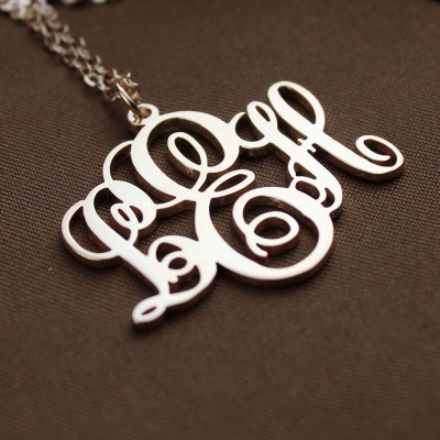 Personalised Vine Font Initial Monogram Necklace 18ct Rose Gold Plated - The Name Jewellery™