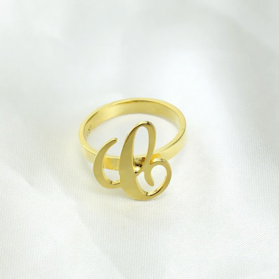 Personalised Carrie Initial Letter Ring 18ct Gold Plated - The Name Jewellery™