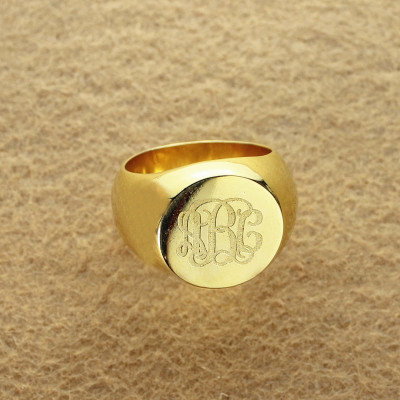 Engraved Circle Monogram Signet Ring 18ct Gold Plated - The Name Jewellery™