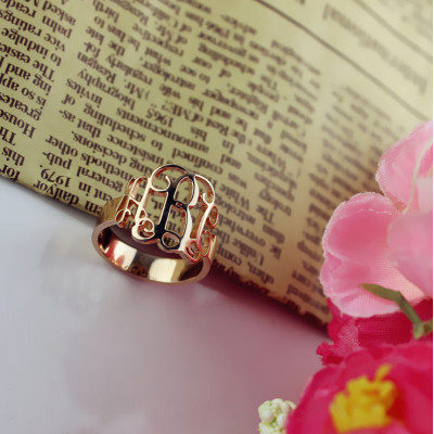 Personalised Rose Gold Monogram Ring - The Name Jewellery™