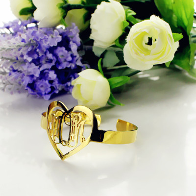 Personal Gold Plated Silver 3 Initials Monogram Bracelets With Heart - The Name Jewellery™