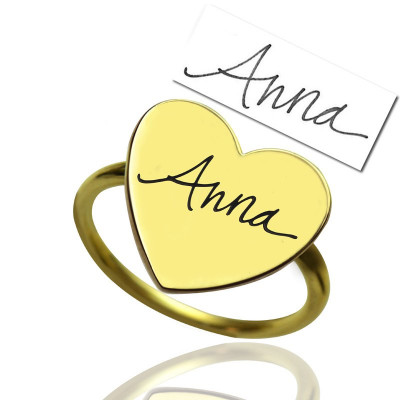 Gold Heart Signet Ring With Your Signature - The Name Jewellery™