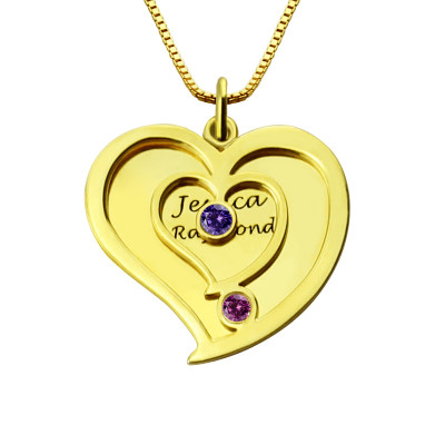 His Her Birthstone Heart Name Necklace 18ct Gold Plated - The Name Jewellery™  ... 6f994ccee
