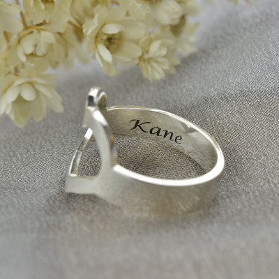 Personalised Couple's Name Promise Heart Ring Silver - The Name Jewellery™