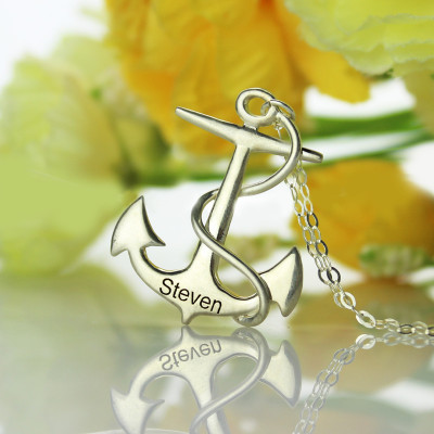 Anchor Necklace Charms Engraved Your Name Silver - The Name Jewellery™
