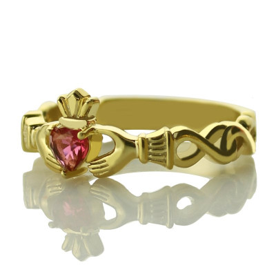 Ladies Modern Claddagh Rings With Birthstone  Name Gold Plated - The Name Jewellery™
