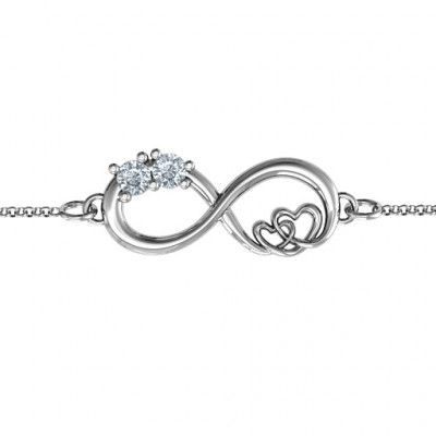 Sterling Silver Double the Love Infinity Bracelet - The Name Jewellery™