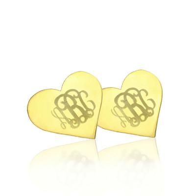Heart Monogram Stud Earrings In Gold - The Name Jewellery™