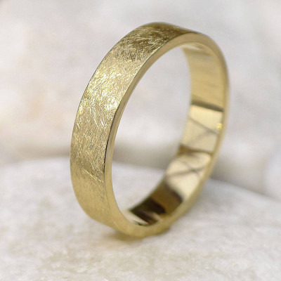 Mens Wedding Ring In 18ct Gold, Urban Finish - The Name Jewellery™