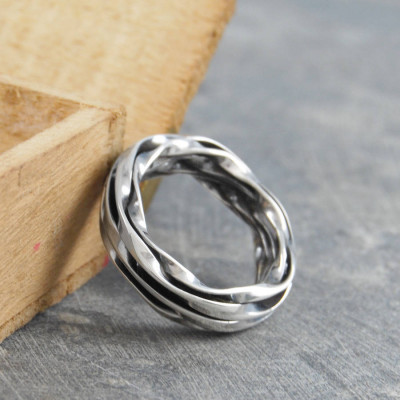 Chunky Mens Silver Oxidised Wrap Ring - The Name Jewellery™