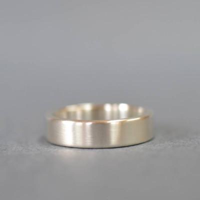 Handmade Satin Silver Rectangular Wedding Ring - The Name Jewellery™