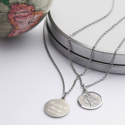 Personalised Silver St Christpher Medal Necklace - The Name Jewellery™