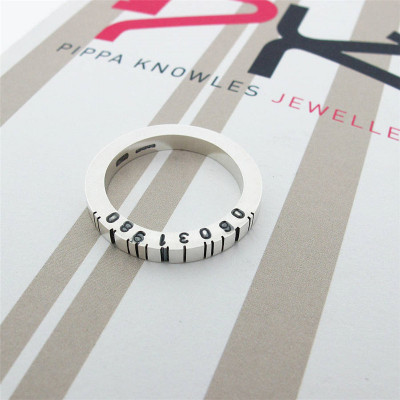 Thin Square Silver Barcode Ring - The Name Jewellery™
