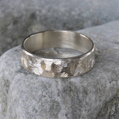 Handmade Unisex Textured Silver Band Ring - The Name Jewellery™
